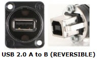 NAUSB-W-B - USB 2.0 A to B or B to A Bulkhead XLR D Series Mount
