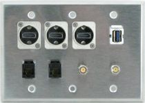 Custom Triple Gang Face Plate with HDMI, USB, Cat 5e and F