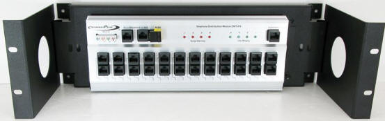 Channel Plus bracket shown with optional rack ears and DMT-24 Telephone Distribution Module