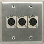 3 Port Double Gang Female XLR Face Plate