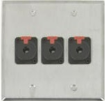 3 Port Double Gang 1/4 TRS Face Plate
