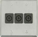 3 Port Double Gang 4 Pole Speakon Face Plate