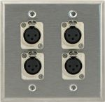 4 Port Double Gang Female XLR Face Plate