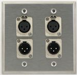 4 Port Double Gang Female to Female and Male to Male XLR Face Plate