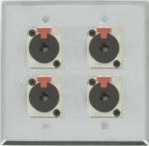 4 Port Double Gang 1/4 TRS Face Plate
