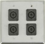 4 Port Double Gang 4 Pole Speakon Face Plate