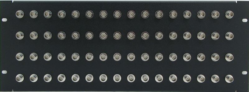 PPD64-BNCB75 - 4RU 64 Port BNC Patch Panel 75 Ohm Front View
