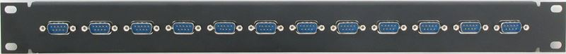 1RU 12 Port DB9 Male to DB9 Male Patch Panel - PPG12-DB9MM Front View