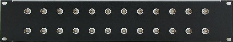 PPQ24-BNCS75IS - 2RU 24 Port BNC Patch Panel - Solder Point - 75 Ohm Isolated - Front View