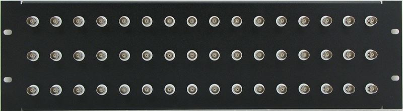 PPQ48-BNCS75IS - 3RU 48 Port BNC Patch Panel - Solder Point - 75 Ohm Isolated - Front View