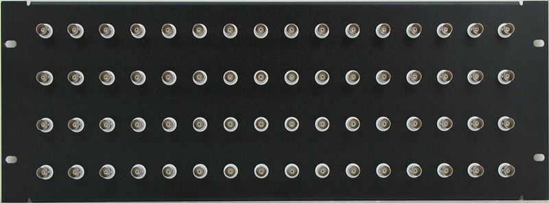 PPQ64-BNCS75IS - 4RU 64 Port BNC Patch Panel - Solder Point - 75 Ohm Isolated - Front View