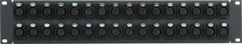 PPX32-NC3FDS - 2RU 32 Port XLR Patch Panel - 3 Pin - Female - Solderless Screw Terminals Rear Front View